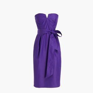 Tie-waist strapless cocktail dress in silk faille